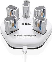 EBL Juego de 5 Unidades Pilas Recargables Li-Ion de 9V y Cargador de 5 Ranuras Independientes Entrada USB (DC:5V/2A) con 5 Unidades 600mAh Pilas Recargables de Litio de 9V (Incluye Cable USB)