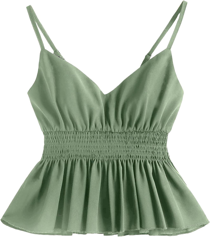 Romwe Women's Cami Tank Top Fort Worth Genuine Mall V Waist Ruff Neck Sleeveless Shirred