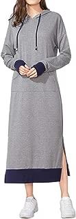 Jacansi Women's Long Sleeve Solid Loose Hooded Sweatshirt Maxi Dress with Pocket