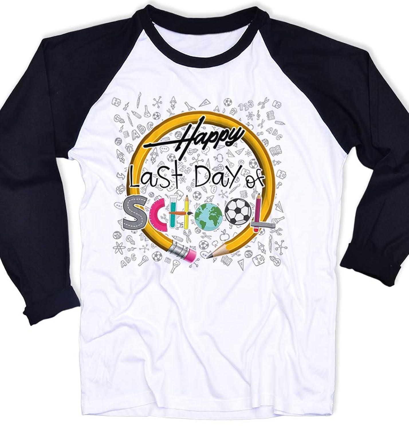 AllBirthDayGift Happy Last Day of School Shirt Teacher T-Shirt Preschool Teacher Shirts Kid Teacher Long Sleeve T Shirt