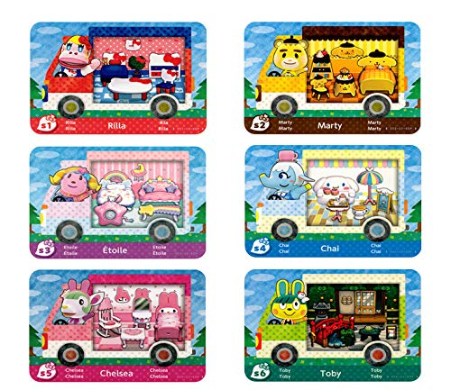 6pcs for Animal Crossing New Horizons New NFC Tag Game Cards, ACNH Amiibo Mini Card, RV Villager Furniture Compatible with Switch/Switch Lite/New 3DS