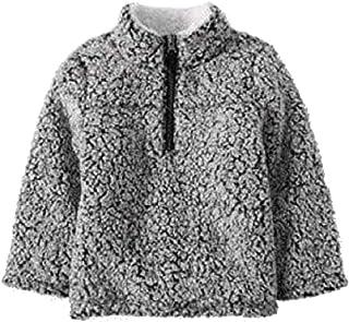 Wonder Nation Baby Boys Quarter Zip Super Soft Sherpa Pullover (2T, Black Soot)