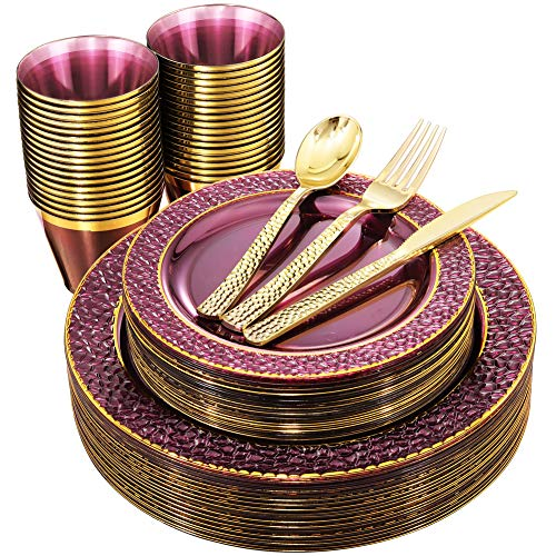 Nervure 150PCS Clear Purple Plastic Plates with Gold Rim &Gold Plastic Silverware-Disposable Wedding Party Purple Plates Include:25Dinner Plates-25Dessert Plates-25Cups-25Forks-25Knives-25Spoons