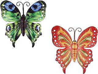 VOSAREA 2pcs Large Metal Butterfly Wall Art Outdoor Decor Butterflies Wall Sculpture Hanging Decor for Home Yard Patio Gar...