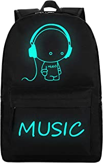 School Backpack, Unisex Lightweight Water-Resistant Daypack Schoolbag Bookbag with USB Charging Port for Boys Girls Teens, Black