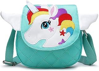 BETOY Carino Unicorno Crossbody borsa a tracolla portafoglio borsa chiusura a cerniera per ragazze adolescenti Donne(verde)