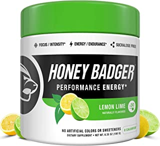 Honey Badger Vegan Keto Pre Workout | Lemon Lime | Natural Paleo Sugar Free Plant-Based Energy Supplement Nootropics Amino Acids Nitric Oxide Sucralose Free + Non-Habit Forming | 30 Servings