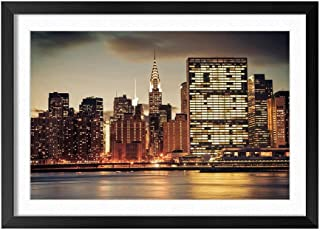 New York City Night Skyscrapers Lights River - Natural Scenery Art Print Home Decor Wooden Frame Poster(Black Frame 16x24inch)