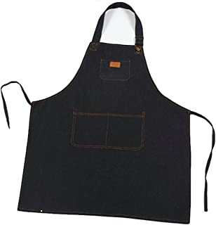 ts-store Chef Apron Durable Denim Apron with Pockets for Men and Women. Modern Design Suitable for Barista Cooking Grilling Kitchen (Indigobule) Restaurant Waiter Craft Handmade Industrial Gardening