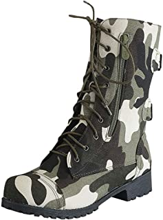 QueenMM Shoes Women's Ankle Bootie High Lace up Military Combat Booties Mid Calf Low Heel Boots
