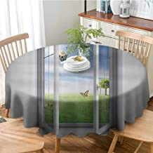House Decor Collection Wrinkle Free Dinner Tablecloth Open Window with A Green Field Outdoors Butterfly Landscape Grassland Design Pattern Table Cover for Restaurant Party 63 Inch Round Green Blue Wh