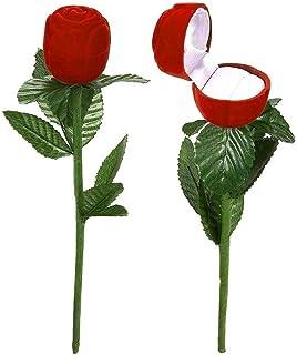 Huang Boîtes à bagues Rose Romantique Fleur Rouge Fleur Boucles d'oreilles Bijoux Coffret Cadeau pour fiançailles fête de ...