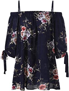 SakuraBest Womens Plus Size Floral Print Cold Shoulder Blouse Casual Half Sleeve Tops Camis