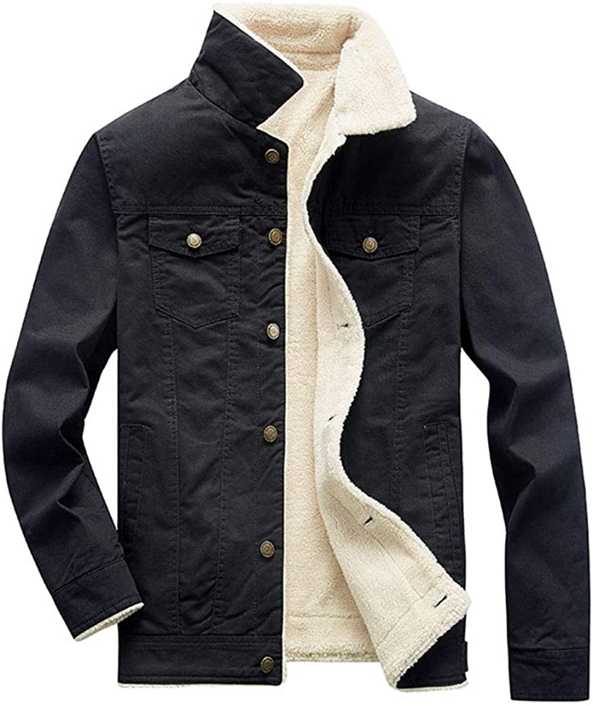 DSDZ Mens Classic Winter Fur Fleece Lined Thick Warm Trucker Jacket