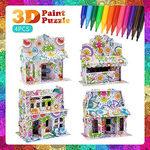 3D-Puzzle für Jungen Kinder, DIY 3D-Puzzle für Kinder Alter 6 7 8 9 10 Kunst und Kunsthandwerk für 5-12-jährige Jungen Mädchen Malen Puzzle-Set Kinder Geburtstagsgeschenk für 6-9-jährige Kinder Jungen