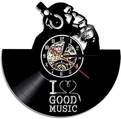 TPYFEI Tocadiscos DJ Custom Wall Art Reloj de Pared DJ Your Name ...