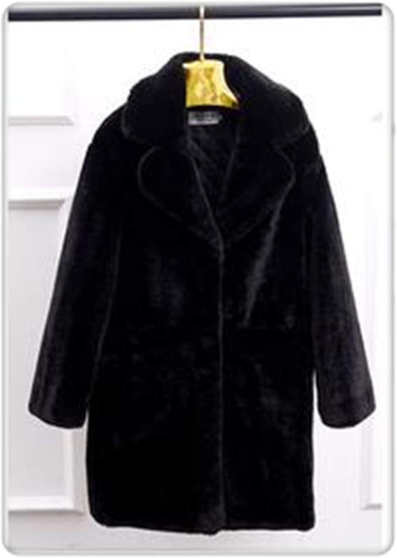 Uciquzhon Fashion Women Fur Coat Imitation Lambs Wool Winter Coat Product Thickening Keep Warm Winter Jacket Quality Assurance K2578 Black M