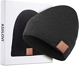 ASIILOVI Bluetooth Beanie, Bluetooth 5.0 Wireless Knit Winter Hats Cap with Detachable Built-in Mic and HD Stereo Speakers for Outdoors Family & Gift-Unisex (001-Charcoal)
