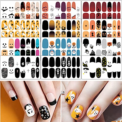 TailaiMei 12 Sheets Halloween Nail Wraps Adhesive Nail Art Stickers Full Wrap Strips with 2 pcs Nail Files for DIY Nail Decals (Ghost Style)