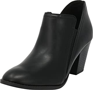 Cambridge Select Women's Closed Round Toe Side V Cutout Stretch Chunky Stacked Heel Shootie Ankle Bootie