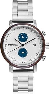 Men's Watch Chronograph Quartz Waterproof Watch Leather Strap Casual Watch