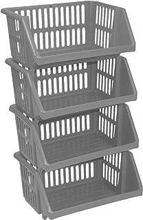 Grands paniers de rangement empilables à 4 étages en plastique noir, longueur 35,5 cm x profondeur 28,5 cm x hauteur 17,5 ...