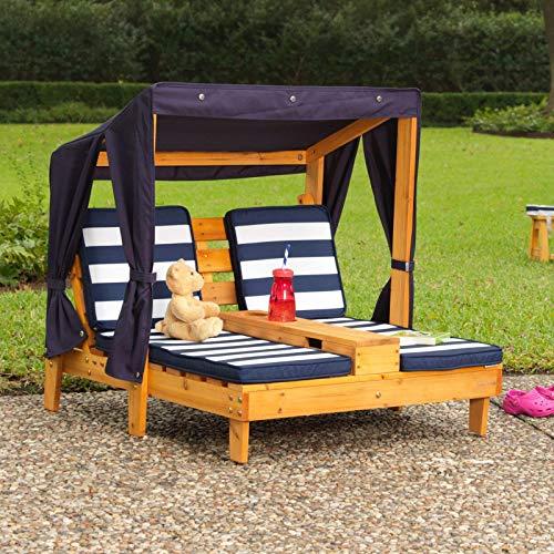 KidKraft 00524 Doppelte Sonnenliege mit Getränkehaltern Doppelliege, Chaiselongue aus Holz, Honigfarben - 2