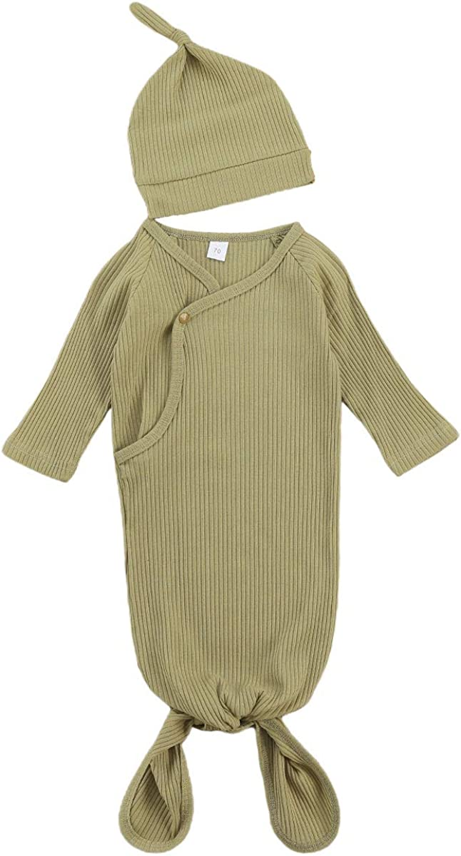 KMBANGI Newborn Baby Girl Boy Knit Cotton Knotted Nightgown Soft Sleeper Gown with Hat Set for Unisex Baby