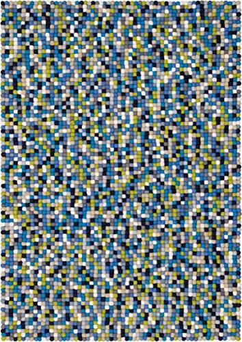 myfelt Fritz Filzkugelteppich, rechteckig, Schurwolle, grün/blau, 50 x 70 cm