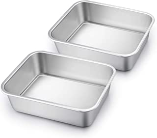 TeamFar Lasagna Pan Set of 2, Brownie Pan Deep Lasagna Pan Rectangle Cake Pan Stainless Steel for Baking Roasting, 10.7''×...