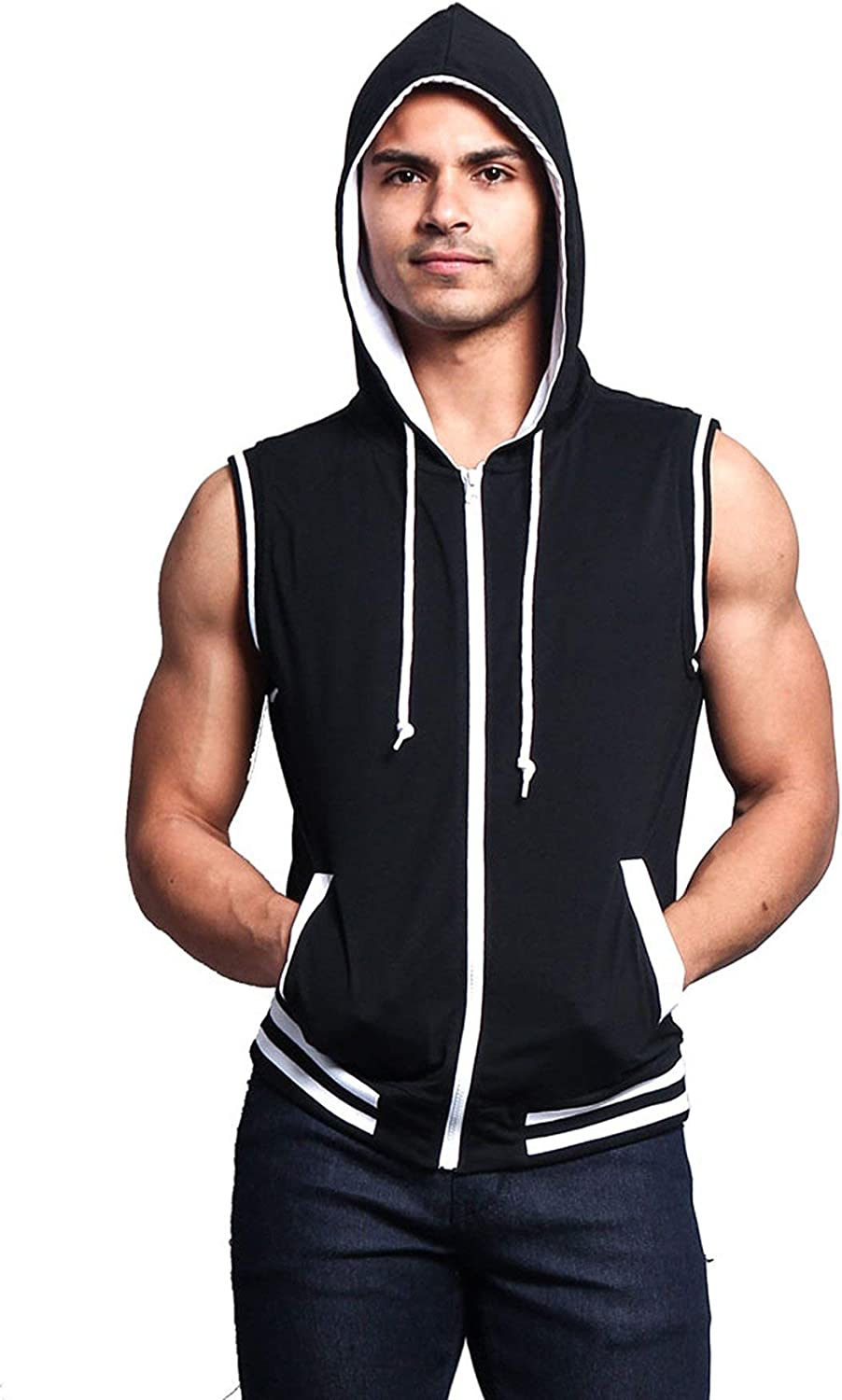 Victorious Men's Lightweight Athletic Casual Sleeveless Contrast Zipper Hoodie