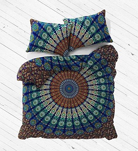 Blue Color Indian Queen Size Mandala Duvet Cover Handmade Red Color Dona Cover set 3 pcs