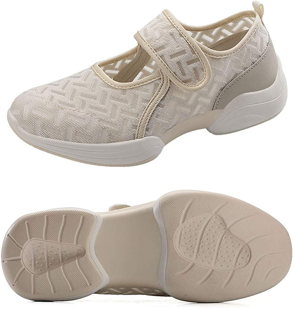 VIMISAOI Women's Comfortable Mesh Walking Shoes, Lightweight Soft Flat Fashion Sneakers, Hook and Loop Arch Support Shoes Beige