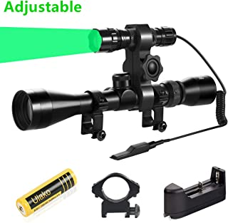 Ulako U70 Green Light 350 Yards Adjustable Spotlight Floodlight Tactical Flashlight Torch for Hog Pig Coyote Varmint Predator Hunting Shooting