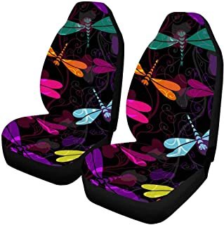 INTERESTPRINT Pomegranate Pattern Car Seat Cover Front Seats Only Full Set of 2, Universal fit for Vehicles, Sedan and Jeep
