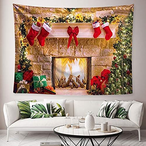 Jorisa Christmas Tapestry Wall Hanging,Christmas Stockings Fireplace Background Cloth Tapestry Wall Decoration for Living Room,Bedroom,Dorm,Party Backdrop,79x59 inch(200x150 cm)