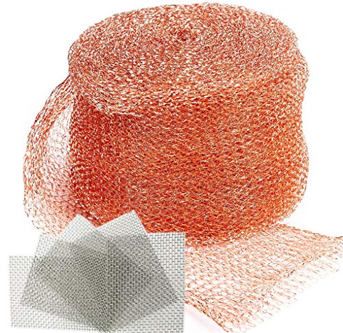 REMOPEST Copper Mesh, 5x100 Ft and 5 pcs Stainless Steel Wire Mesh