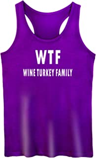 GROWYI Funny Workout Tank Tops Racerback for Women with Saying Wine Turkey Family Fitness Gym Sleeveless Shirts