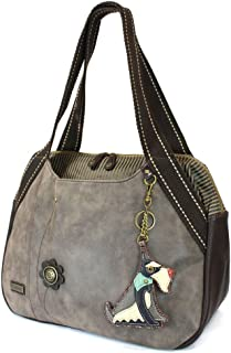 Chala Handbag Shoulder Purse Tote Bag with Animal Purse Charm (835GY)