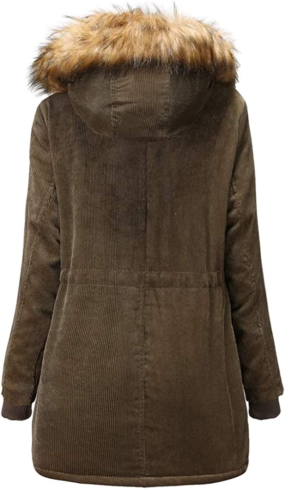 ZFQQ Neue Damen Wollmantel Cordmantel Damen Plus Samt Winter Baumwollmantel dicken warmen Mantel Green