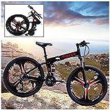 Bicicleta de montaña plegable MTB Bicicleta 26 pulgadas 21 Velocidad Marco de acero Doble freno de disco Bicicleta de carretera plegable, para hombre, mujer, ciudad, ejercicio aeróbico, entrenami