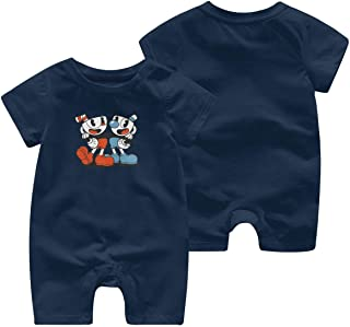 Soft Cotton Baby Girl Jumpsuit 0-3M Rompers for Infant with Cuphead and Mugman Pattern Navy