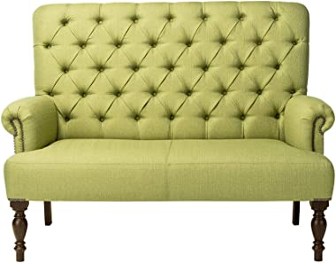 Classic Green Two Seater Sofa with Button Tufted backrest - Yucad