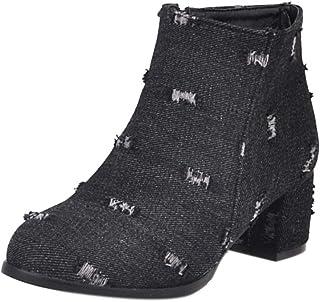 TAOFFEN Women Comfort Round Toe Western Boots Mid Heels Zipper