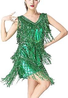 1d63c4c6b13 Guiran Mujer Danza Vestido Baile De Salón Latino Tango con Lentejuelas Y  Flecos Fiesta Cóctel Ropa
