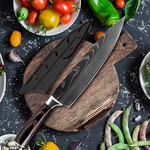 Chef's Knives,Kitchen Knife QING Kitchen Knife Double Steel Handle Chef Knife Japanese Chef's Santoku Cleaver Color Wood Handle Cooking Accessories Tools BY GHJK (Color : Only chef knife)