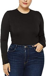 92113f7cca5 Cenglings Women Sexy Turtleneck Long Sleeve Zipper Body Sculpting Slim Fit  Jumpsuit Plus Size Romper Playsuit