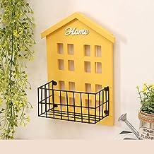 Houten Rekken for wandmontage Decoratieve Partition, Multi-functie Living Room Muur Debris Afwerking House Shape Rack (Col...