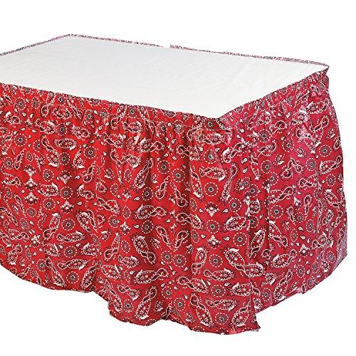 Plastic Red Bandana Western Tableskirt