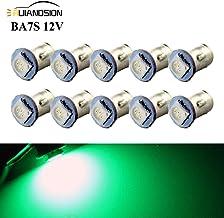 Ruiandsion BA7S - Bombillas LED para salpicadero (12 V, 5050, 1 SMD, 30 lm, luz interior LED verde para luces indicadoras de salpicadero, luces de panel de instrumentos, tierra negativa, 10 unidades)